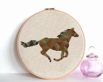 Horse Cross Stitch Pattern geometric