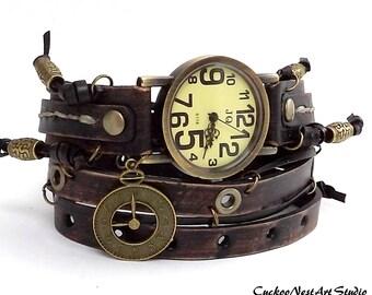 Wrap Watch, Vintage looking leather watch, Womens leather watch, Bracelet Watch, Distressed Black, Wrist Watch