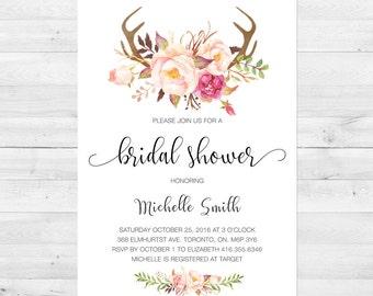 Spring bridal shower invitation floral nest bridal shower spring bridal shower invitation bridal shower invite floral watercolor antler boho filmwisefo