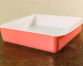 Vintage Flamingo Pink Pyrex, Square Baking Dish, Casserole Dish - 222, 8 inch