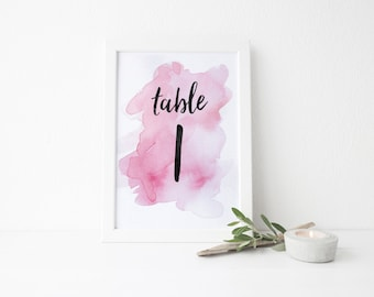 Instant Download Watercolor Splash Table Numbers / Bright Pink Watercolor / Brush Lettering / Digital Print-at-Home File Table Numbers 1-20