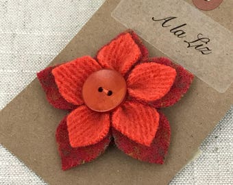 Orange Fabric Flowers Brooch Pin Personalized Gift Felt Brooch Rustic Wedding Groomsmen Gifts Mens Lapel Pin Woodland Wedding Scarf Pin