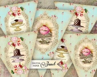 Sweet Banner - digital collage sheet - set of 3 sheet - Printable Download