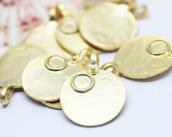 5 Pcs 24K Matt Gold Plated Medallion Charms with base, 26x37 mm Arabic Calligraphy Pendant, Gold Pendants - Medallion Pendant