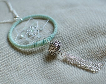 Green suede dream necklace with water