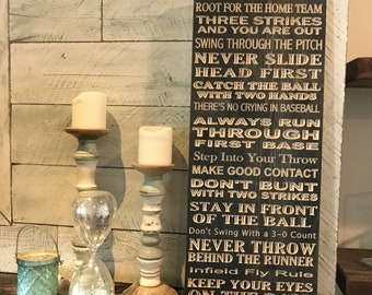 Baseball Rules engraved wooden sign