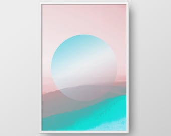 Printable Geometric Art, Geometric Print, Pink Blue Art, Wall Decor, Minimalist Circle Print, Digital Art, Circle Poster, Modern Poster