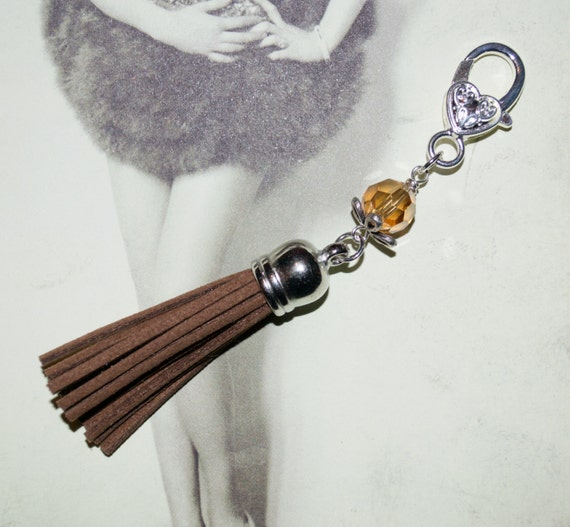 Boho Tassel Clip, Brown Purse Accessories, Brown Tassel Keyring, Tassel Key Charm, Boho Purse Charm, Zipper Pull, Bag Charm, Tassel Zip Pull