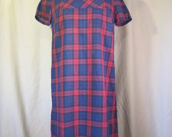 Adorable Red and Blue Plaid Shift Dress size S