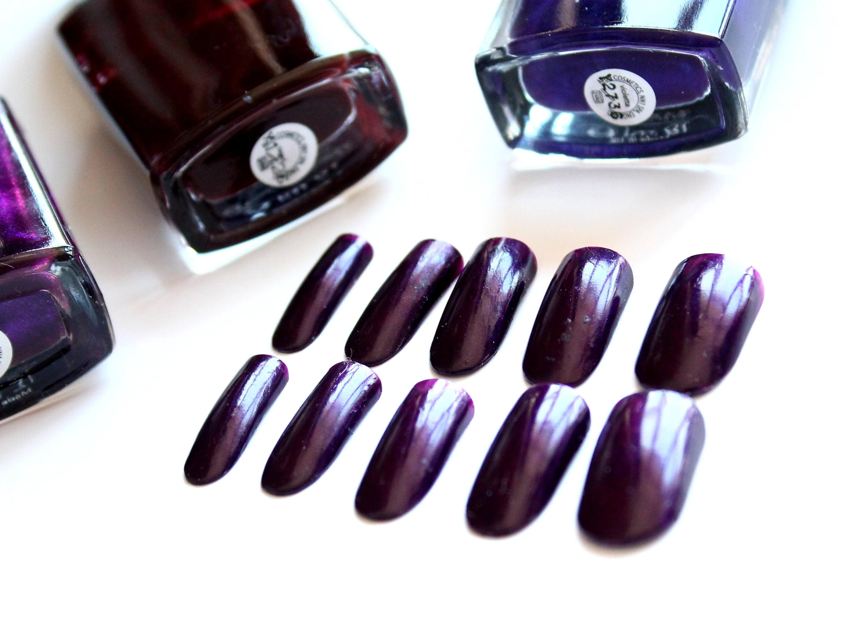 Deep purple nails Dark purple fake nails Artificial nails