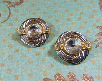 Vintage Rivoli Rhinestone and Silver Circular Clip Earrings - V-EAR-279 - Rivoli Earrings - Round Rhinestone Earrings - RivoliEarrings