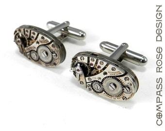 Steampunk Cuff Links Steampunk Cufflinks - SOLDERED Vintage BULOVA Watch Movement Cuff Links - Mens Steampunk Jewelry by Compass Rose Design