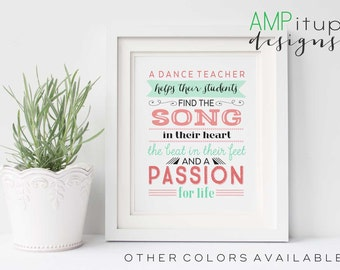 Printable Dance Teacher Gift - Dance Teacher Gift - End of Year Gift - Dance Gift - Gift for Dance Teacher - Typography - Printable Gift Art