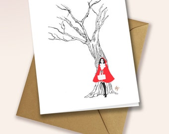Little Red Riding hood - blank greeting card