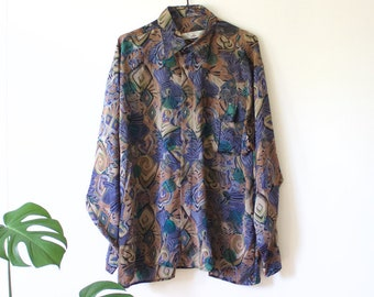 Vintage Men's Shiny Purple Green Brown Abstract Button Up Shirt // Long Sleeve Shirt // Collared Blouse // Neco Bazaar // Large // 90s