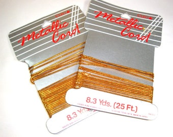 Vintage Metallic Gold Cord For Crafting, Ornaments, Decorations, Embellishments,   (478-13)