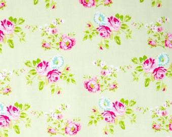 Free Spirit Floral Fabric - Tanya Whelan - Zoey's Garden/Zoey Rose/Green/Cotton/Fabric/Quilting/Sewing