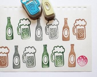 beer rubber stamp | beer glass | beer bottle | drink stamp | summer father's day crafts | diy card making | hand carved by talktothesun