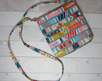Cross Body Purse with Flap and Removable Strap in Fun Bubble Gum Fabric - One of a Kind! Satchel, Shoulder Bag, Candy, Bubblegum, Wrapper