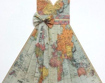 Framed map dress etsy large map of the world hand folded map dress pastel pinkpurpleorange gumiabroncs Image collections