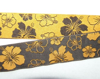 reversible ribbon Hibiscus Hawaiiflower orange/brown 13/16""