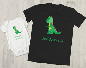 Personalised dinosaur birthday shirt, t shirt dad and baby matching, father son matching shirts, personalised dinosaur t shirt set,