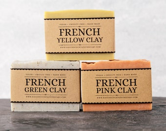 French Clays Soap Set. Unscented Vegan Soap.