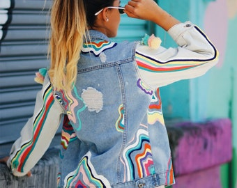 Multicolored - Jean Jacket - womens jean jacket - denim - Denim jacket - painted denim