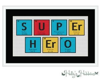Super Hero Chemical Element Cross Stitch Chart
