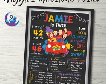 The Wiggles Blackboard Poster, Wiggles Milestone Poster Wiggles Chalkboard Poster Wiggles Birthday Poster Wiggles Party Decoration Printable
