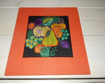 Swedish hand embroidered wall hanging 1960  s  / fruits