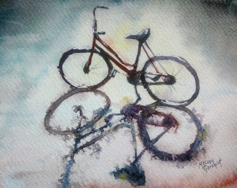 ORIGINAL watercolor painting of Bicycle - bike Painting - Gift for Mother - shadow - rain -  Artwork - silhouette - back lit - grey -red