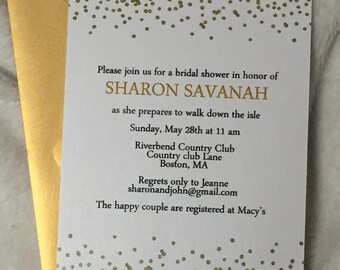 Wedding shower invitations, gold confetti anniversary party invite set of 10
