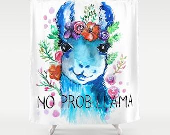 No Probllama Shower Curtain Llama Shower Curtain children's room girl shower curtain kids bathroom decor kids shower curtain llamas