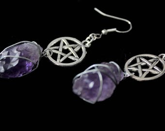 Earrings ' ' witchy amethyst ' ', witch, Witch, pentagram, stone, earrings, medieval