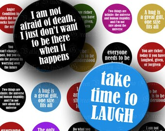 INSTANT DOWNLOAD Digital Art Images Collage Sheet Funny Interesting Quotes Phrases One 1 Inch Circles for Pendants Magnets Crafts (C127)