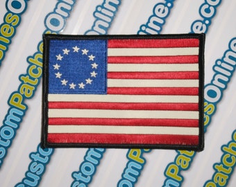 Betsy Ross American 1776 USA Flag Embroidered Patch with Full Stars