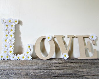 Custom Word Sign with White Daisy Flowers- LOVE, HOME, PEACE, Names, Initials, Letters- Floral Wall Sign for Nursery Wedding Party Decor