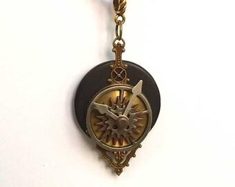 Steampunk Pendant - Victorian Clock Necklace - Victorian Brass Clock - Clock Necklace - Steampunk Clock Pendant - Interactive Clock Pendant