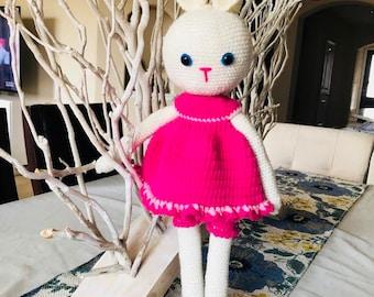 rabbit handmade organic toy amigurumi pink white