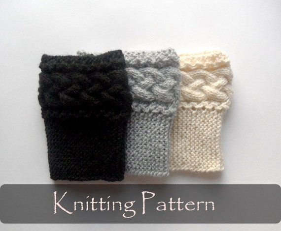 Knitting Pattern Braided Boot Toppers Cable Knit Boot Cuffs
