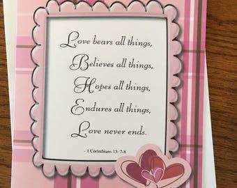 Item #98 - Love / Wedding / Anniversary / Just Because Greeting Card - 1 Corinthians 13:7-8