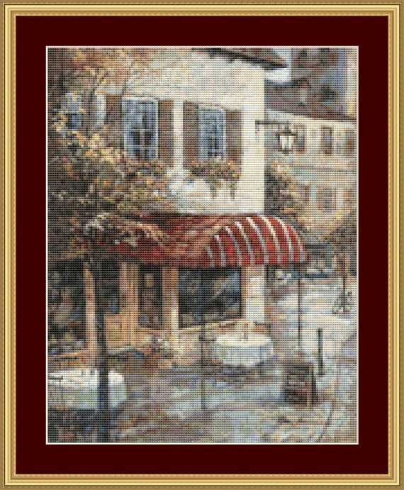 Coffee House Ambiance Cross Stitch Pattern /Digital PDF Files /Instant downloadable