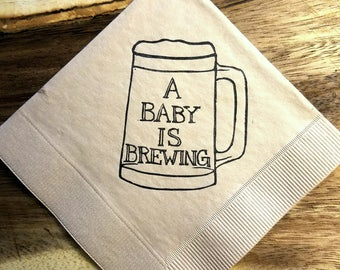 A Baby is Brewing Baby Shower Napkins in Light Burlap  Cocktail Napkins Beer Mug Rustic Party - set of 50