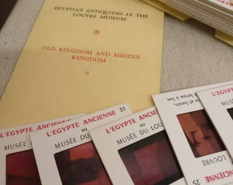 Vintage 35mm Slides of Egypt in mock book case, Egyptian Antiquities at the Louvre museum.