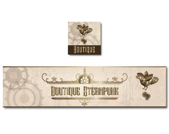 Banner Steampunk, vintage banner shop banner custom banner banner creation