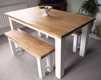 Rustic Dining Table and Two Benches