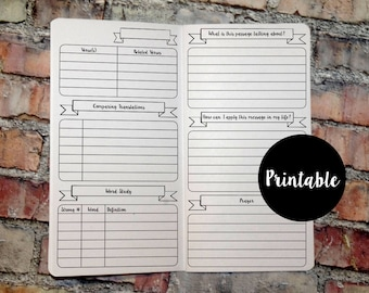 Bible Study Journal, B6 Size, TN Insert, Traveler's Notebook Insert, Printable