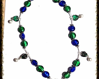Handmade MWL  blue and green venetian glass beaded necklace. 0114