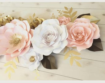 Pretty in Pink Blush paper flowers set